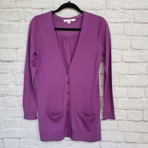 Boden Purple Wool Boyfriend Tunic Cardigan
